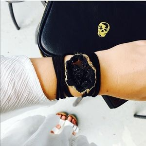 ALV jewels black druzy geode wrap bracelet